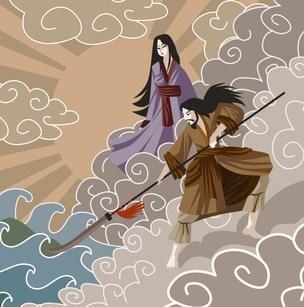 イザナギとイズナミの日本の神々